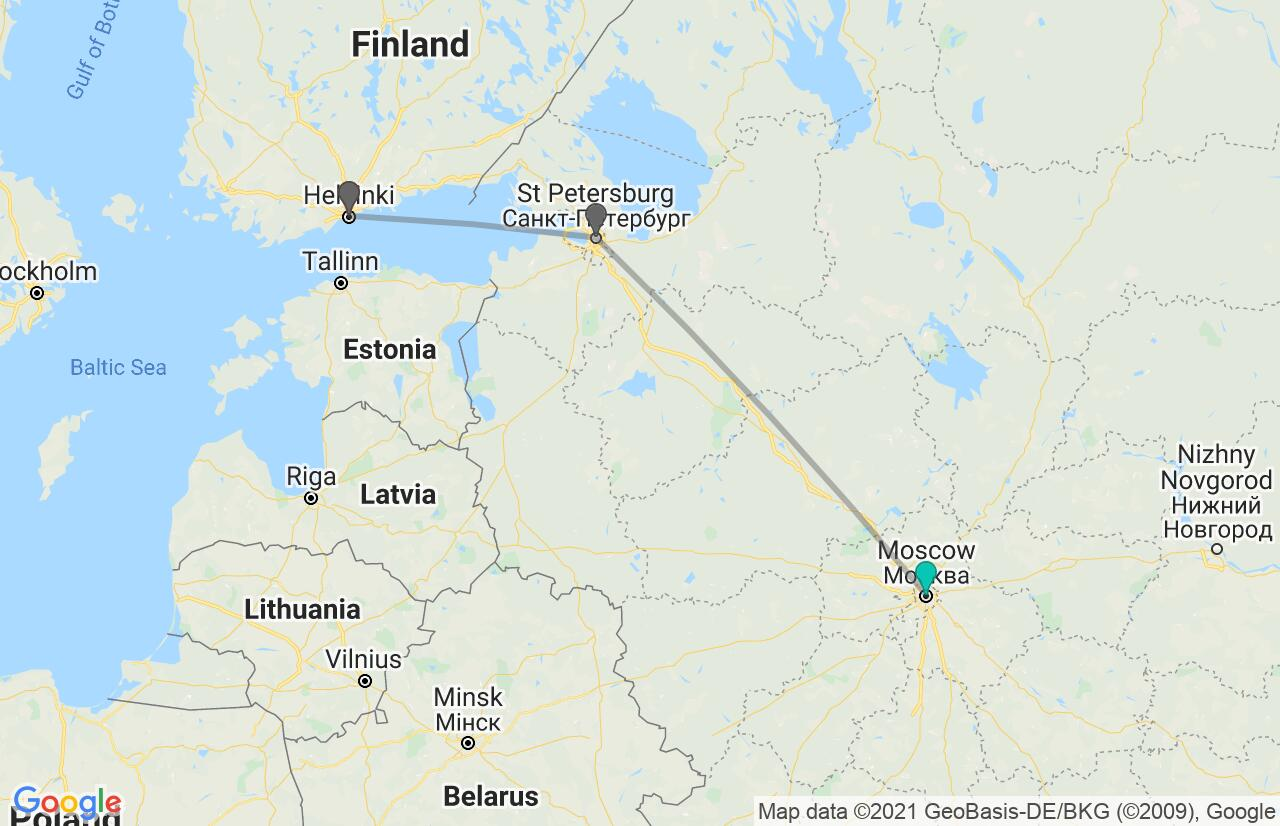 Map with itinerary in Russia & Finland