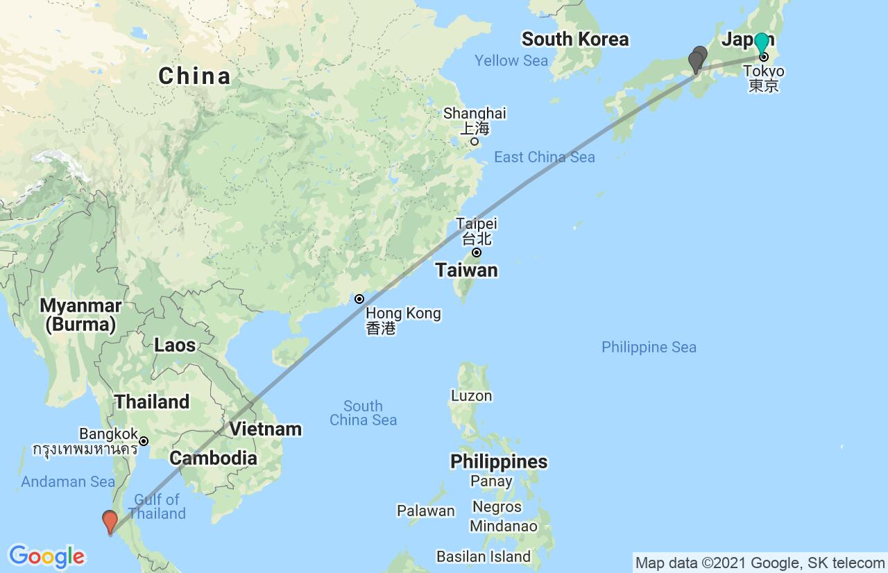 Map with itinerary in Japan & Thailand