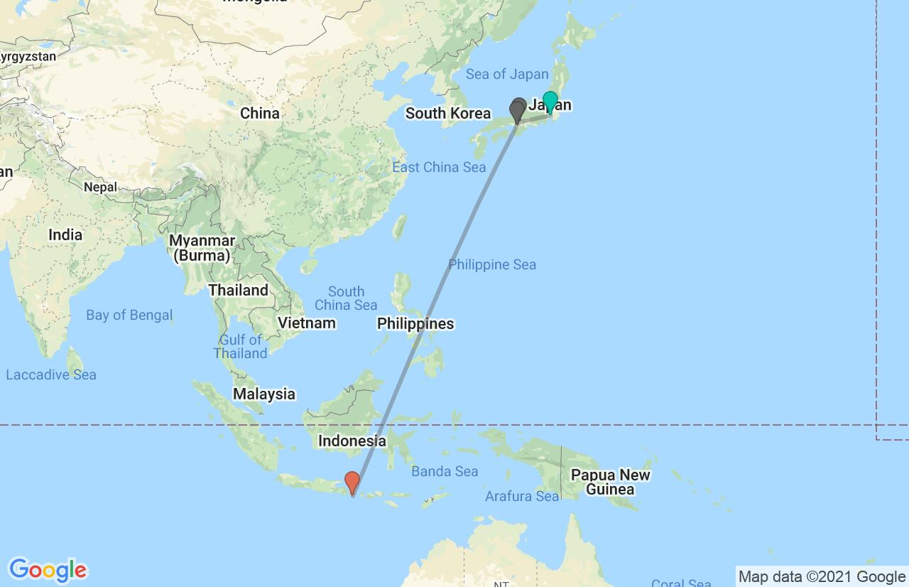 Map with itinerary in Japan & Indonesia