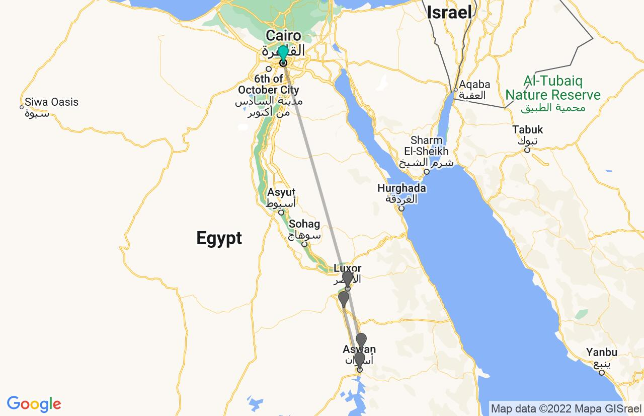 Map with itinerary in Egypt