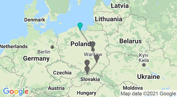 Map with itinerary in Poland