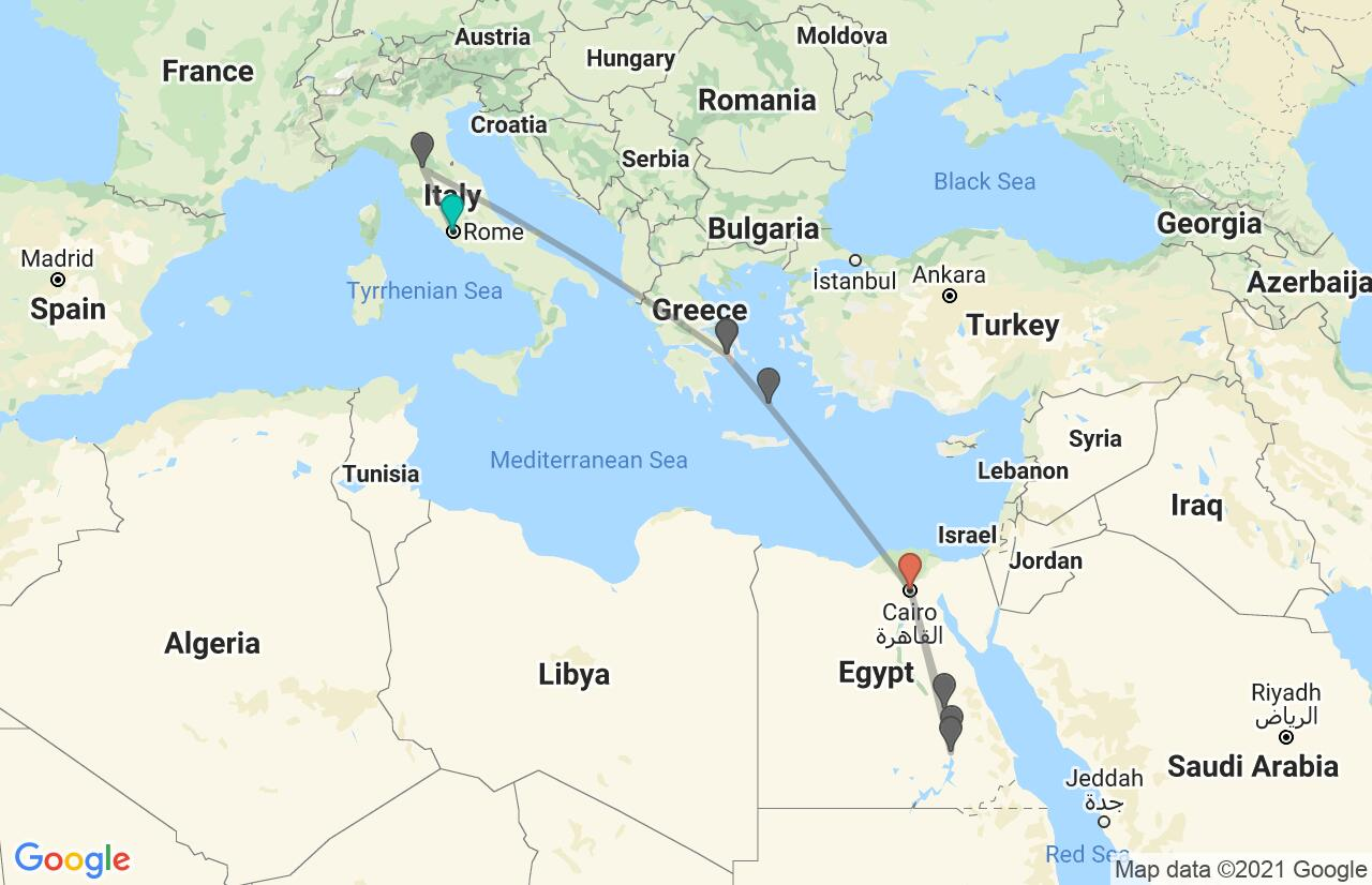 Map with itinerary in Italy, Greece & Egypt