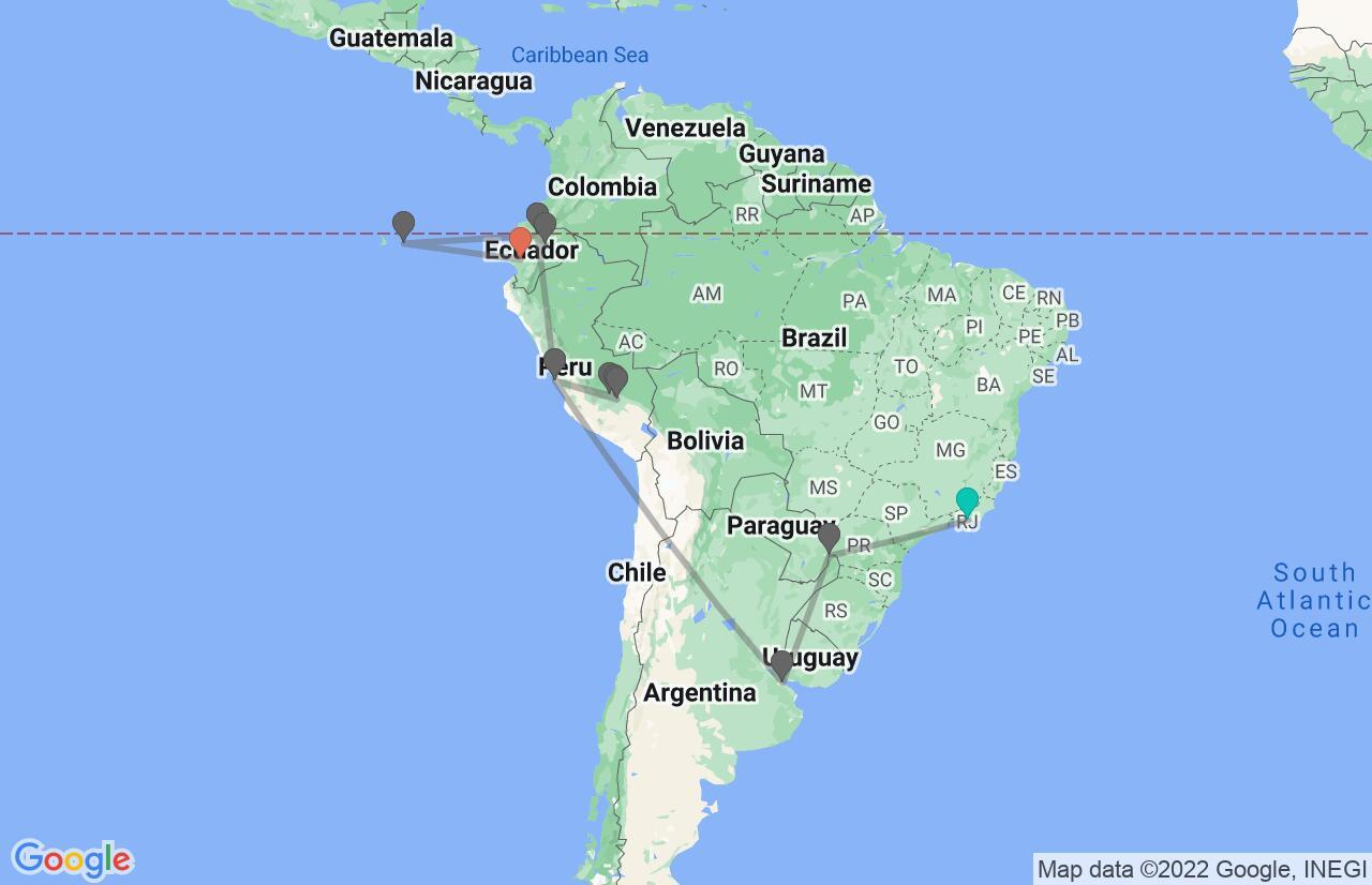 Map with itinerary in Brazil, Argentina, Peru & Ecuador