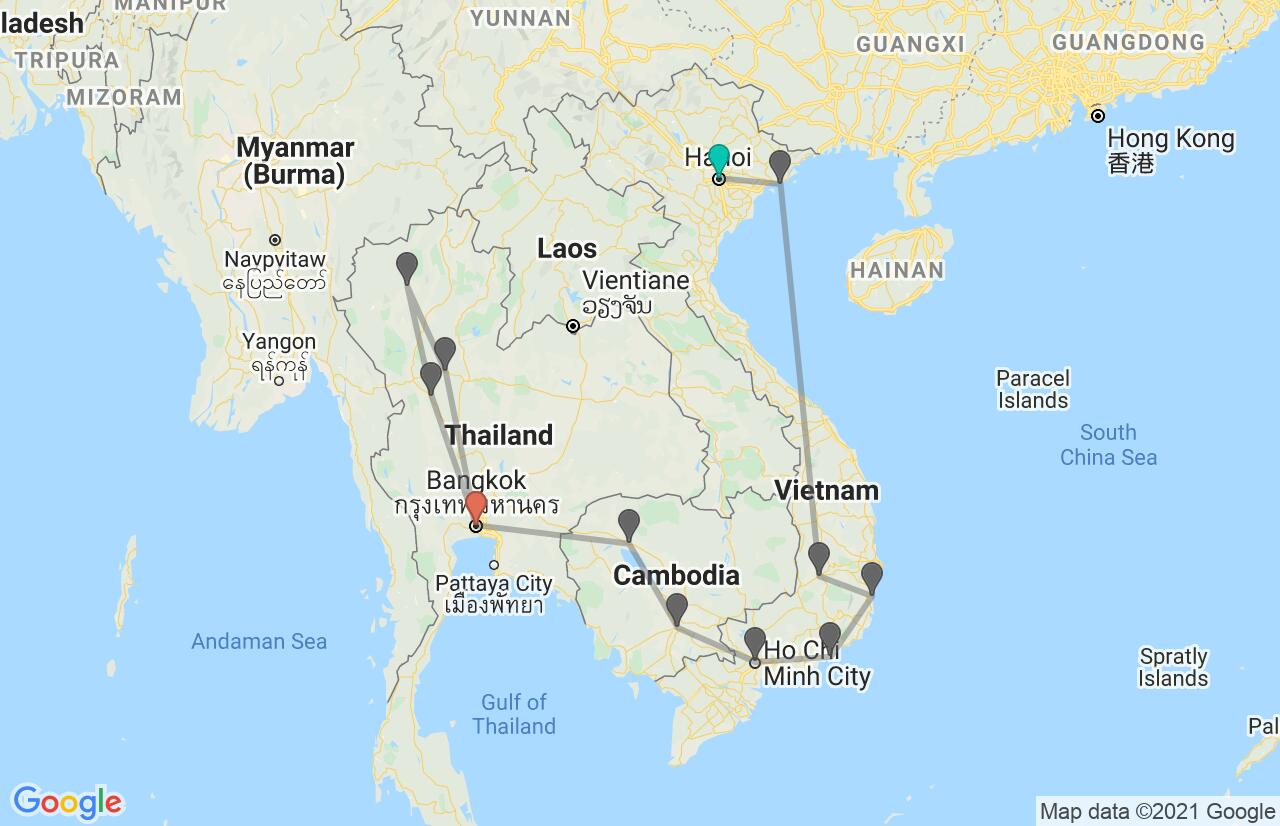 Map with itinerary in Vietnam, Cambodia & Thailand