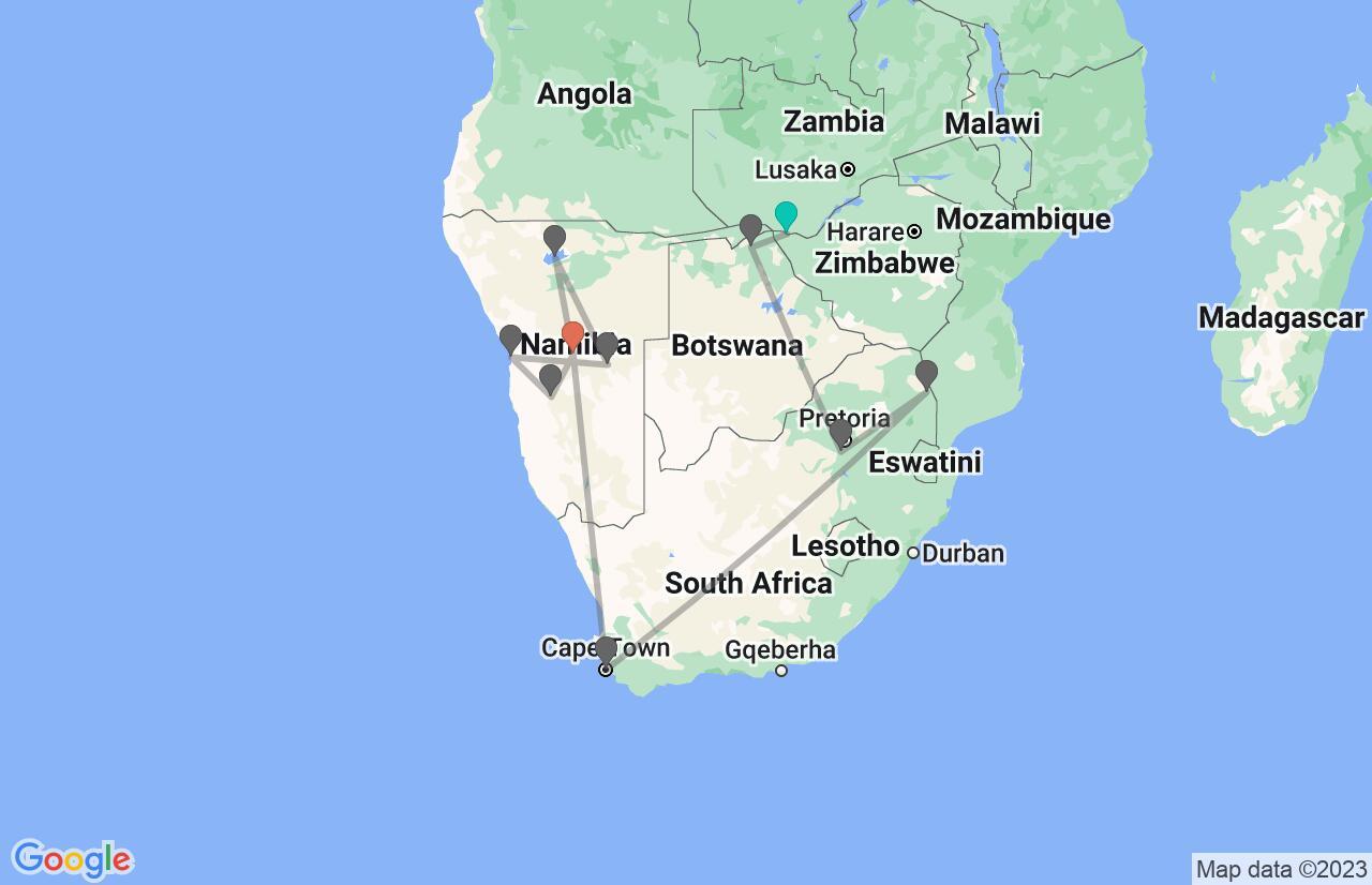 Map with itinerary in Zimbabwe, Botswana, South Africa & Namibia