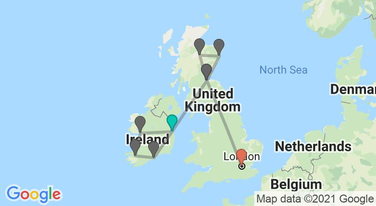 Map with itinerary in Ireland, Scotland & England
