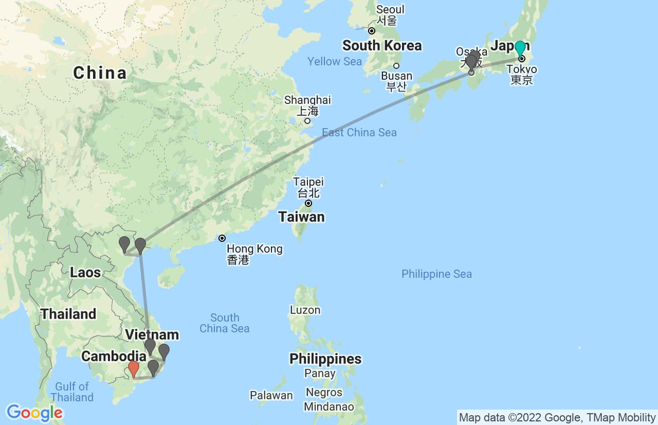 Map with itinerary in Japan & Vietnam