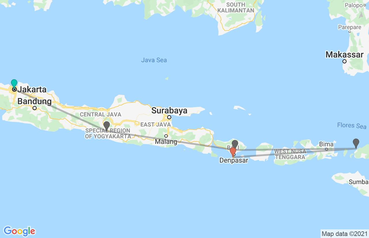 Map with itinerary in Indonesia
