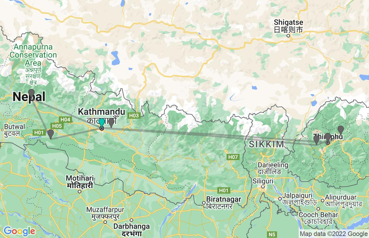 Map with itinerary in Nepal & Bhutan