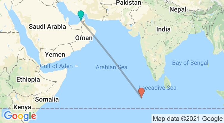 Map with itinerary in United Arab Emirates & Maldives