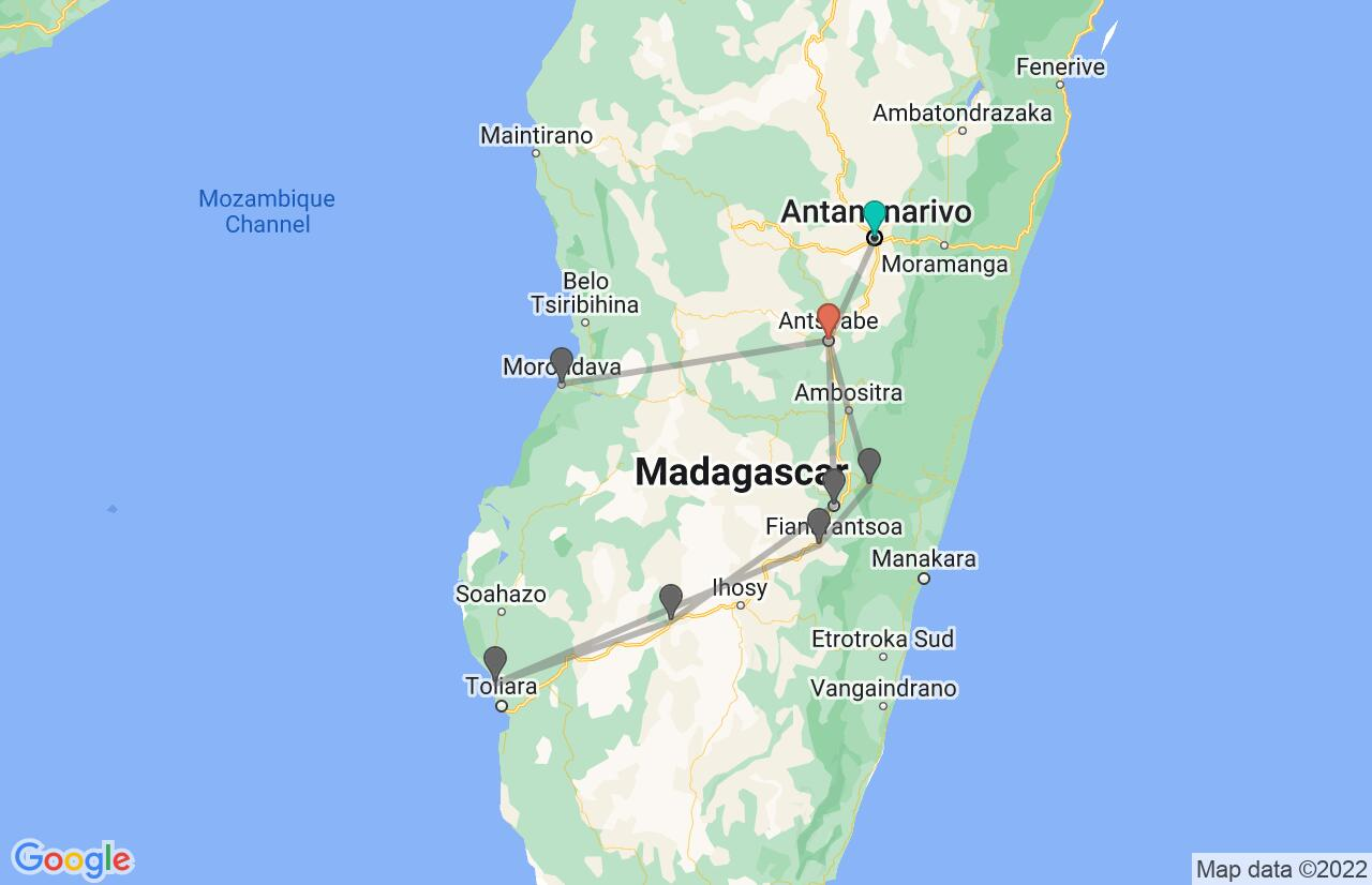 Map with itinerary in Madagascar