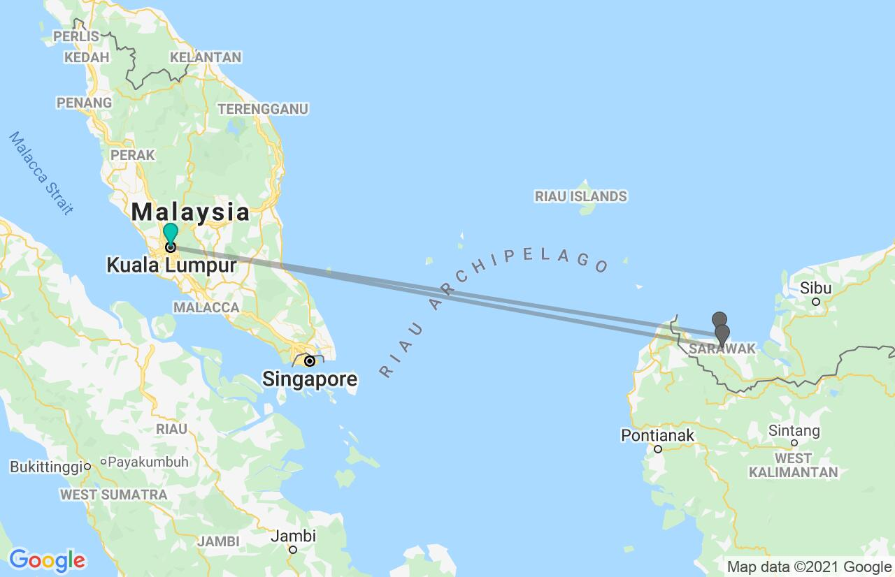 Map with itinerary in Malaysia & Borneo