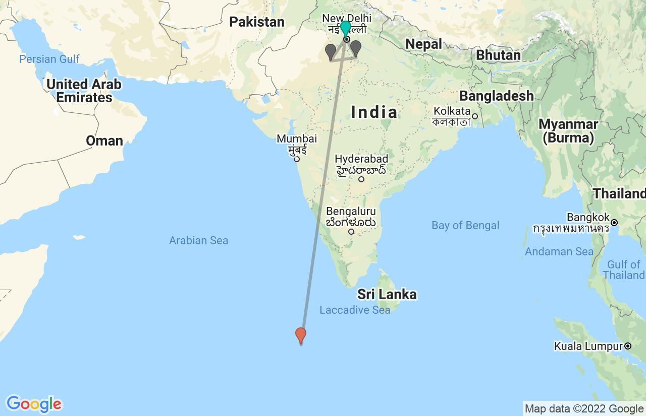 Map with itinerary in India & Maldives
