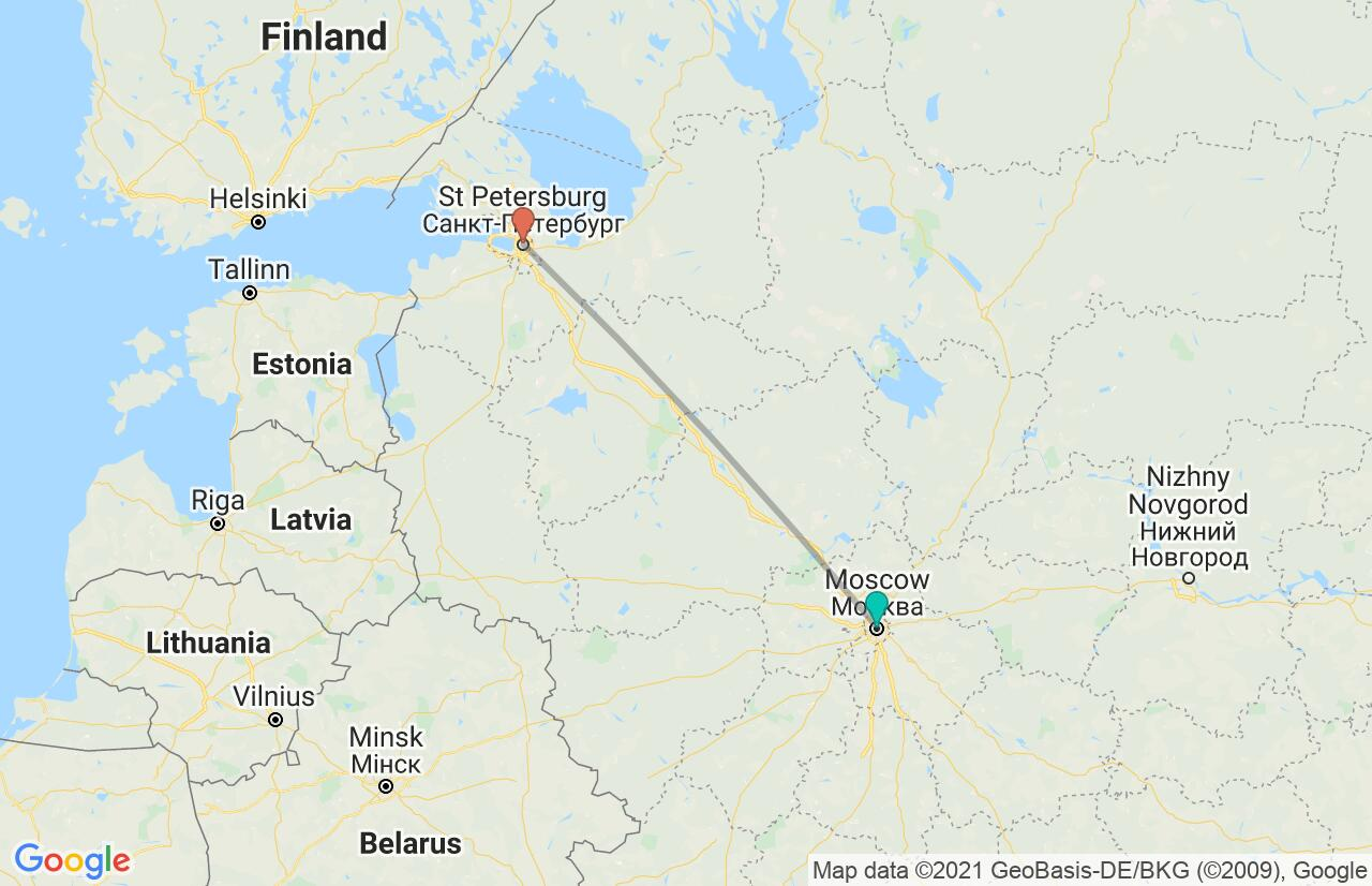 Map with itinerary in Russia