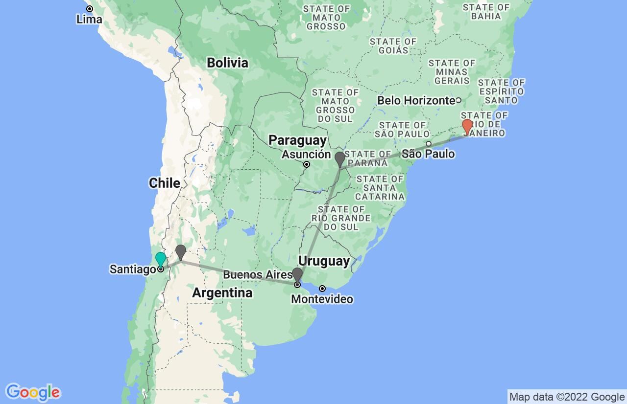 Map with itinerary in Chile, Argentina & Brazil