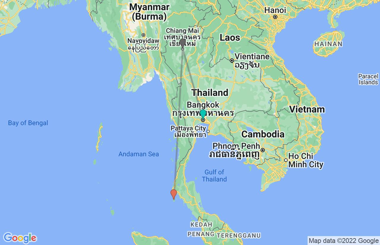 Map with itinerary in Thailand