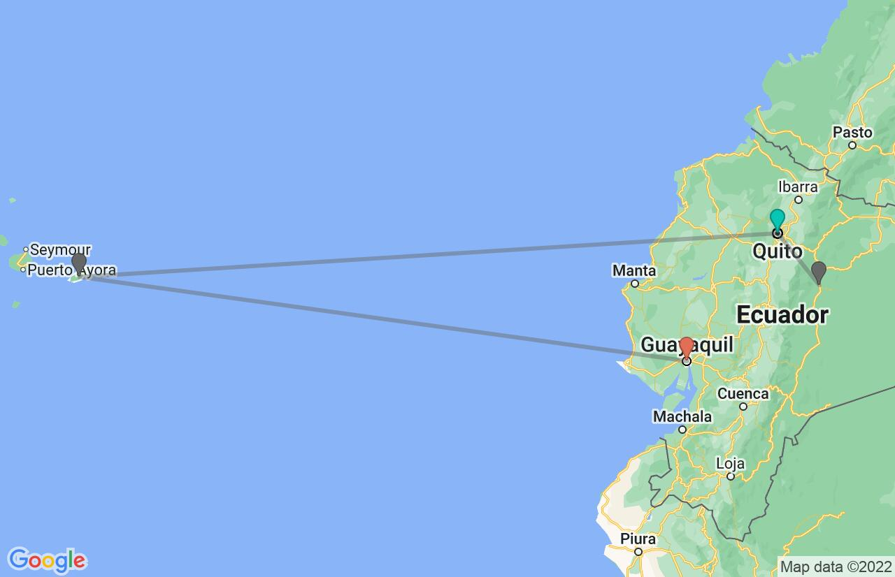 Map with itinerary in Ecuador