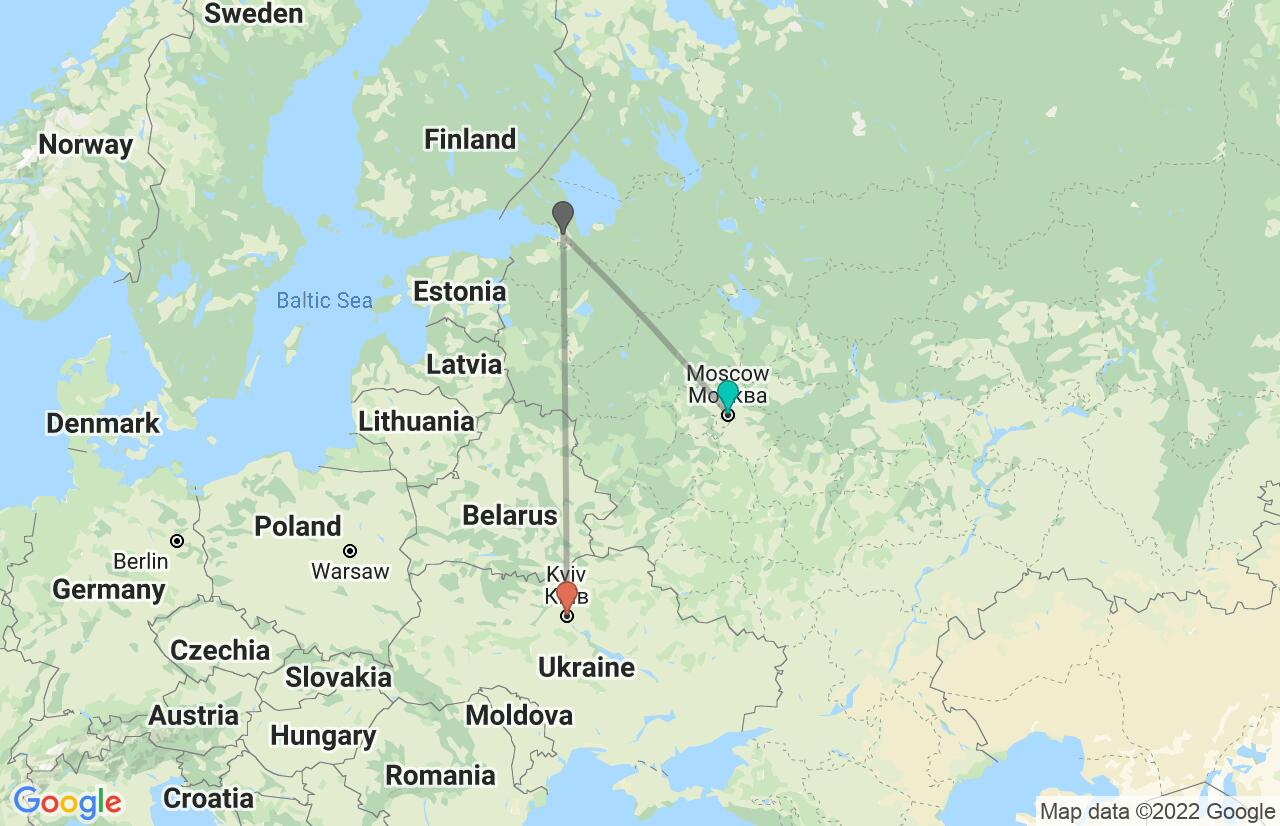Map with itinerary in Russia & Ukraine