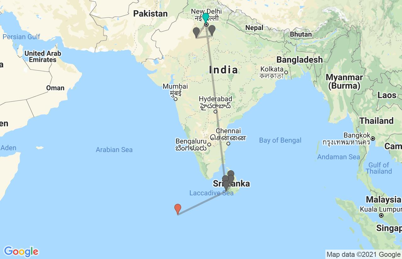 Map with itinerary in India, Sri Lanka & Maldives