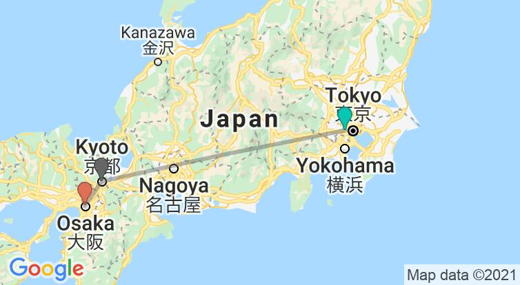 Map with itinerary in Japan