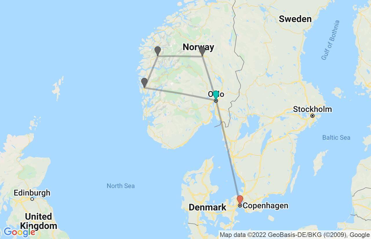 Map with itinerary in Norway & Denmark