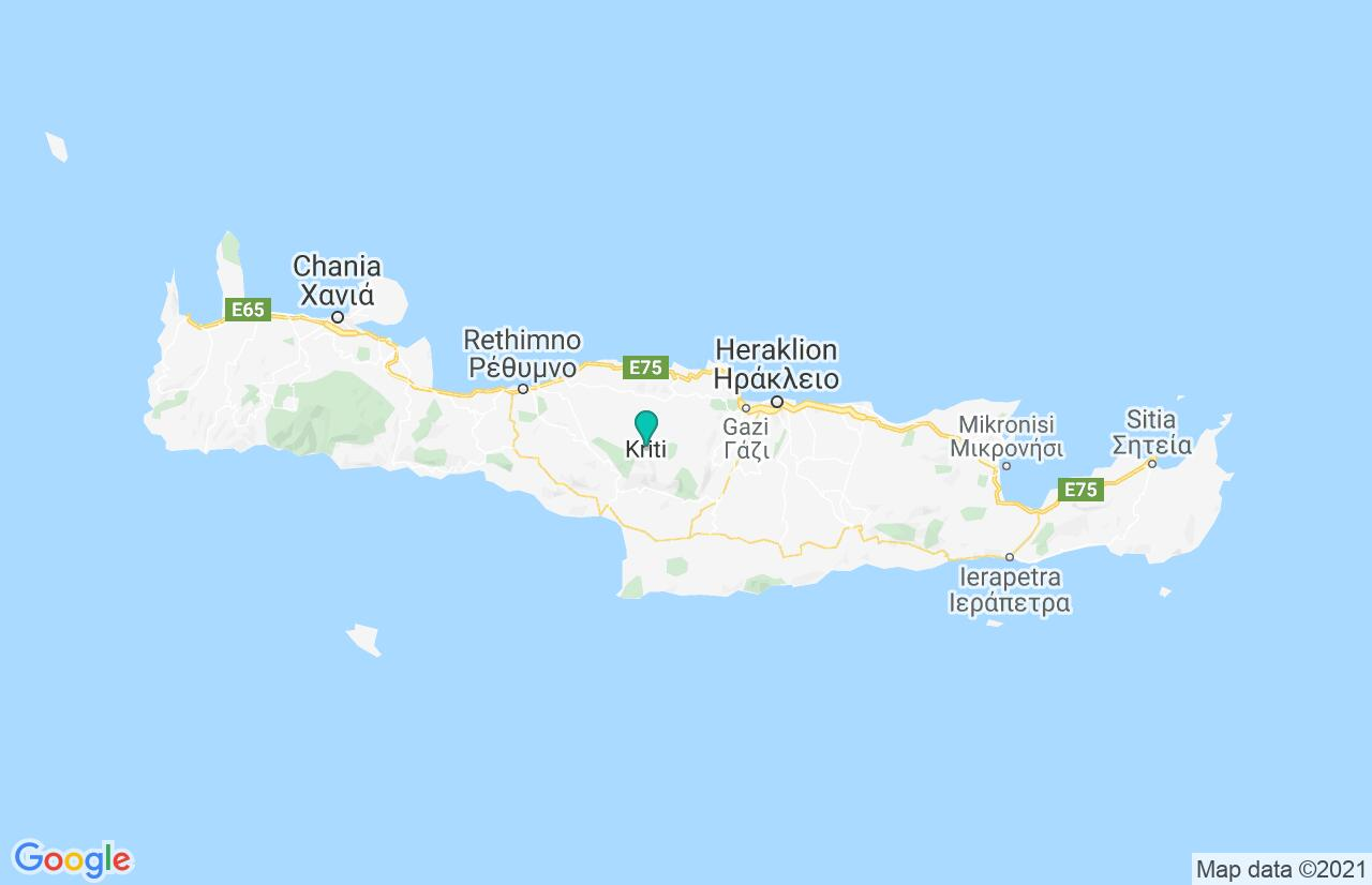 Map with itinerary in Greece