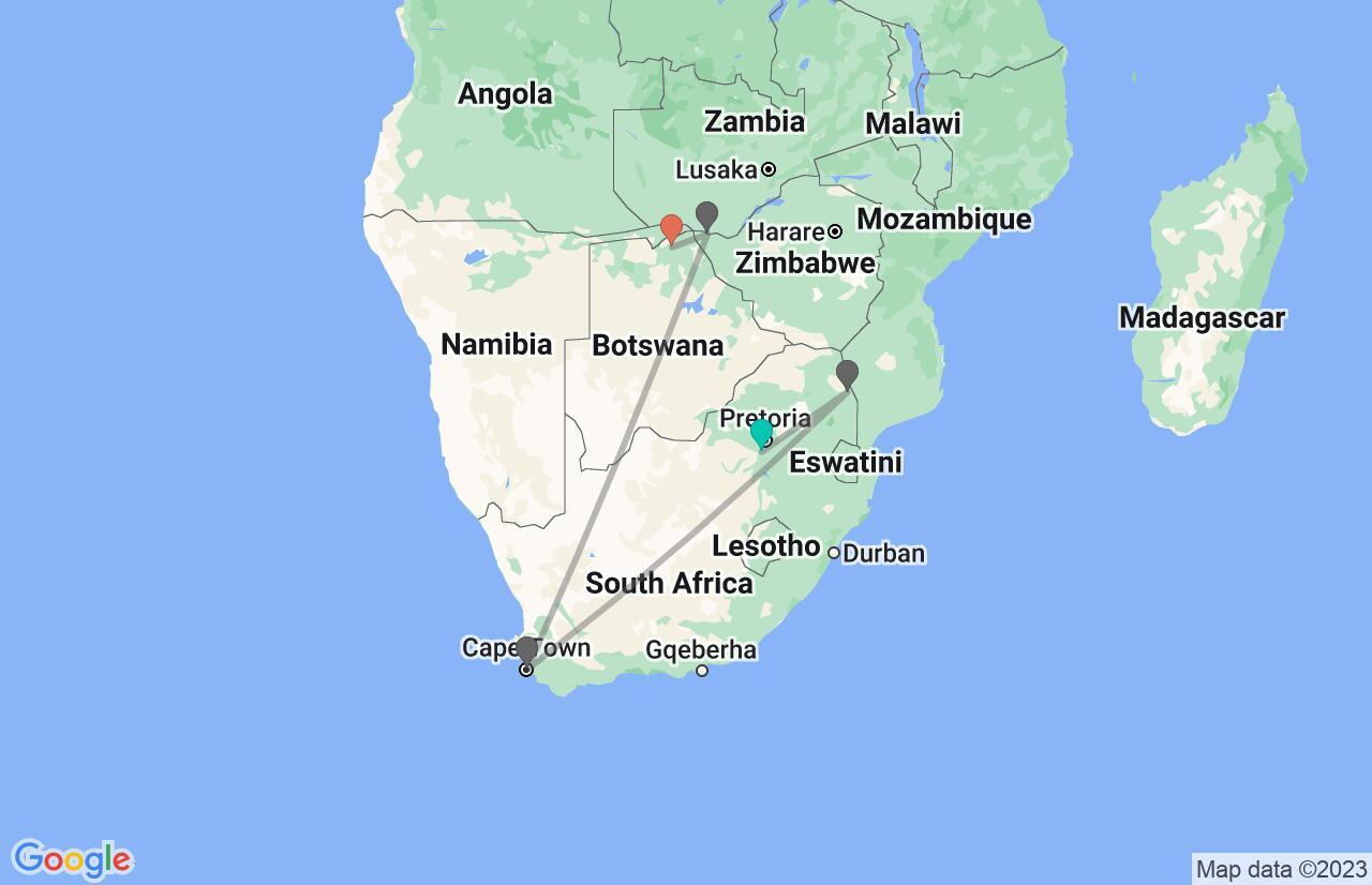 Map with itinerary in South Africa, Zimbabwe & Botswana